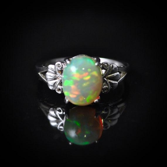 Sterling Silver Opal  Ring Sz 6  #10015