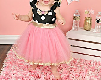 MINNIE MOUSE dress costume  TUTU  Party Dress  in black pink  and gold birthday  Polka Dots dress party dress rose quartz dress