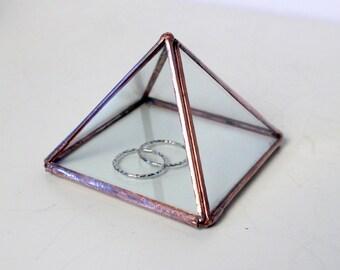 Clear Glass Pyramid Wedding Ring Box /Jewelry Box /Wedding Gift/ Clear Glass Display Box / Ring Bearer Box