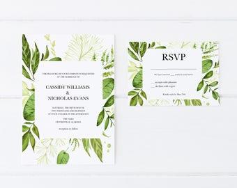 Greenery Wedding Invitations, Printable Wedding Invitations, Botanical Wedding Invitations, Wedding Invitations, Wedding Invitation Set