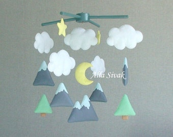 Mountain Baby Mobile Mountain Nursery Mountain baby Neutral Nursery Trees Mobile Woodland baby mobile Crib Mobile Woodland Nursery