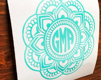 Mandala Monogram Decal, mandala decal, Vinyl Decal, Monogram car decal, Personalized decal, vinyl sticker, yeti decal, car decal,circle font