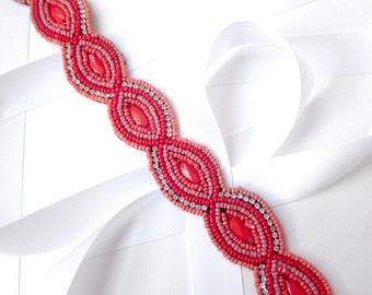 Sash - Beaded Coral Belt Sash - Custom Satin Ribbon - Extra Long Beaded Appliqué Belt Sash - Coral Peach Bridal Belt
