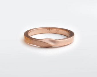 Minimalist Twisted Band Ring, Unique Wedding Ring, Thin Wedding Band for Man, 14k Rose Gold Ring, Mobius Ring, 18k Gold Ring