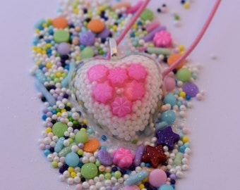 Heart Sprinkle Pendant Necklace. Real Sprinkles! White Nonpareils, Pink Flower Sprinkles and Glitter in Resin. Wearable Candy! 26