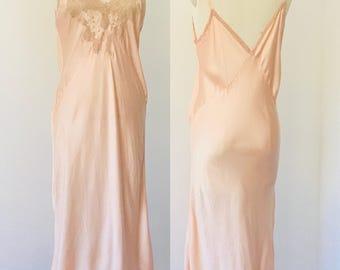Vintage 40's Silk & Lace Night Gown Slip l L