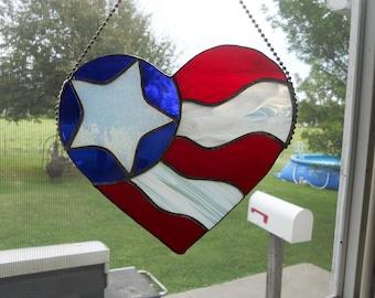 Patriotic American Flag Heart Suncatcher