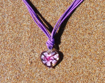 SALE  Purple & Pink Lampwork Heart and Suede Pendant Necklace