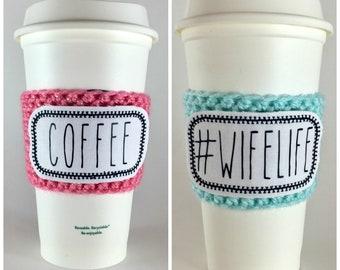 Rae Dunn Inspired Raggy Patch Coffee Cup Cozy / Crochet Coffee Sleeve / Reusable Cozie / Customizable