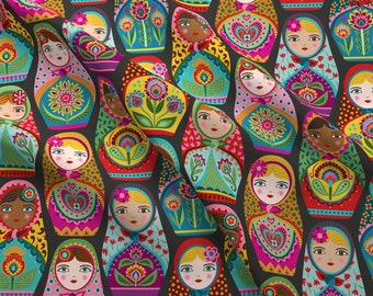 Matryoshka Doll Fabric - Irina And Friends By Groovity - Matryoshka Doll Russian Nesting Black Cotton Fabric By The Yard With Spoonflower
