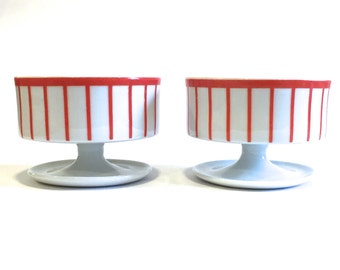 Pair of Porcelain Dessert Cups or Stemmed Bowls Sorbet Ice Cream Dishes | Red and White Stripe | Mid Century Modern Stamped Solar