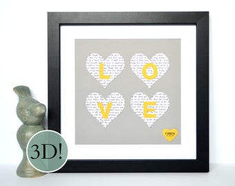Gift For Couples- Wedding Vow Art, Paper Anniversary, Love Gift, Wedding Idea, Philadelphia wedding, Gray and Yellow, Love Sign, Love Park