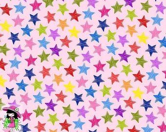 Rainbow stars euro cotton lycra knit 1/2 yard
