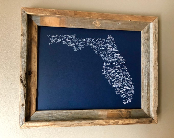 Signatures of the Happiest Place on Earth - Florida (Blue) - Unframed