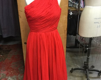 EMMA DOMB Incredible One Shoulder Beautiful Red Chiffon Dress