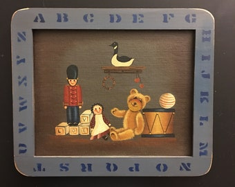 Vintage Hand painted picture Childs room Nursery room Wall decor Toys and ABC's Wood frame Wall hanging Gift for him her artist Signed 1986