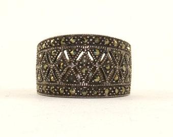 Vintage Rhombus Ornament Marcasite Inlay Ring 925 Sterling Silver RG 1433