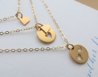 Mothers day gift, Grandma Mother daughter necklace, Generations jewelry set, mom gifts, grandma gifts, heart cutout pendant, gold or silver