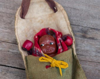 """Vintage touristique indien Papoose poupée 3.5"""""""