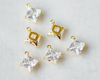 10pcs Gold Geometric CZ Charms 9mm, Rhombus Square Cubic Zirconia Charms, Real Gold plated Brass, Lead Nickel Free (GB-170)