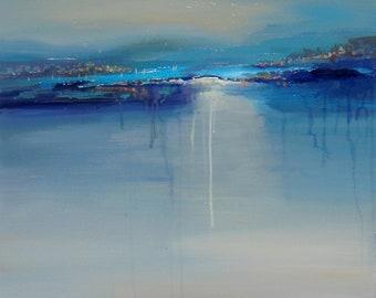Landscape, Blue Art, Acrylic Painting on Canvas, Sailboats, Home Office, Seascape, Living Room, Bedroom Art, Beach Original Painting Sea Sky