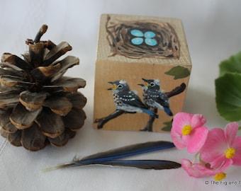 The Bluebird Block - Nest and Eggs Handpainted Wood Block