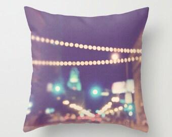 LA pillow cover, purple plum throw pillow, Los Angeles pillow case, LA home, gold bokeh, modern, DTLA housewares, loft decor, 18x18