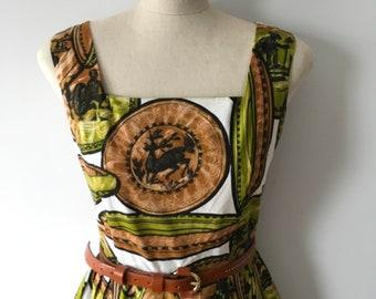 Novelty Print 1950's Sun Dress.  Original Paper Underskirt.