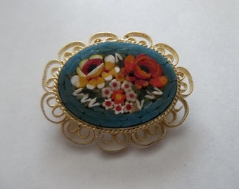 Beautiful Micromosaic Floral Brooch