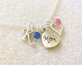 Mom necklace with Swarovski birthstones and letters mom birthday gift for mother jewelry mother Christmas gifts for mom new mom jewelry gift
