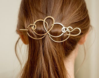 Forged brass hair pin, Hair slide,Hair pin, Brass Hair barrette, Hair Clip,  gift idea for girls. For Her. Gift Ideas for thick hair