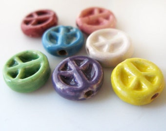 10 Tiny Peace Beads - mixed