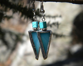 Blue Triangular Stained Glass Earrings with Beads