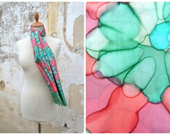 Vintage 1970/70s  Hand painted floral  silk scarf