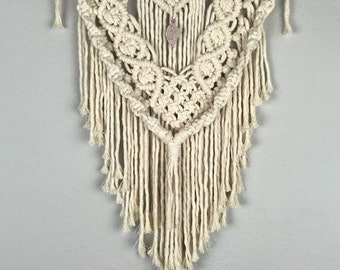 Rose Quartz Macrame Wall Hanging