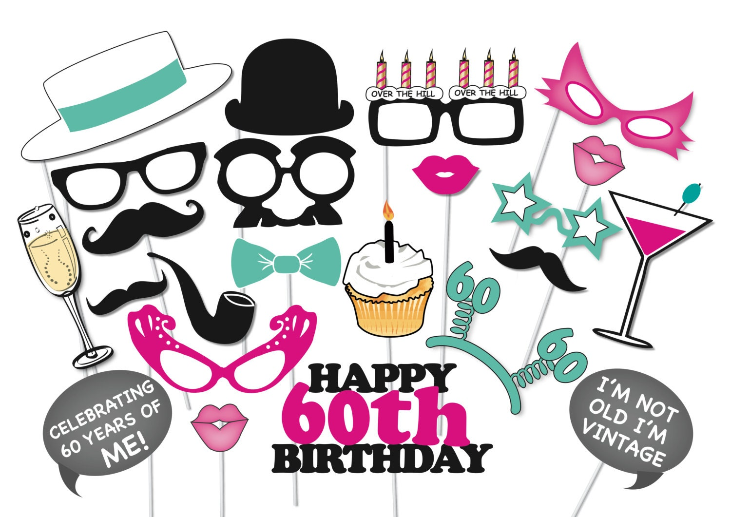 60th birthday photobooth party props set 26 piece printable rh etsy com  over the hill birthday clipart free