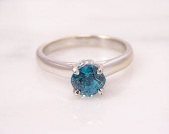 14K White Gold 1.70ct Cushion Cut Blue Zircon Solitaire Six Prong Engagement Ring