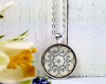 Pattern 8-Medium Round- Glass Bubble Pendant Necklace