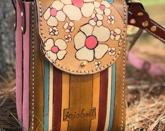 Crossbody Leather Satchel - Blackberry Blossom Spring Collection - Ready to Ship