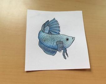 Blue Combtail Betta ORIGINAL Painting - Watercolor