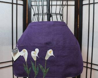 Garden Half Apron in Purple Linen with Calla Lily Applique