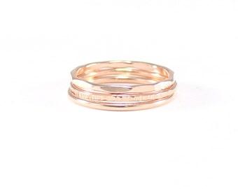 rose gold 3 ring mini stack | rose gold skinny stacking ring set | set of three rose gold rings | hammered ring set