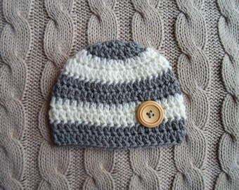 Newborn Baby Hat, Crochet Knit Cream and Gray Stripes Newborn Baby Boy Hat Beanie with a Wood Button, Ready to Ship