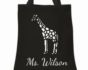 Teacher tote bag, giraffe tote bag, book bag, canvas grocery bag, shopping bag, personalized bag, animal tote, reusable bag, weekend bag