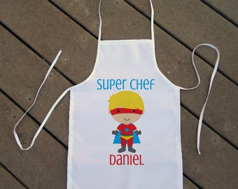 Personalized Kids' Apron - Kids Superhero Apron - Custom Apron for Boys with Superhero - Super Chef Apron for Kids - Kids' Chef Apron