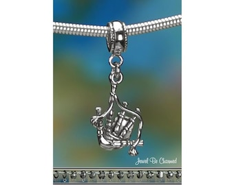 Sterling Silver Bagpipes Charm or European Style Charm Bracelet .925