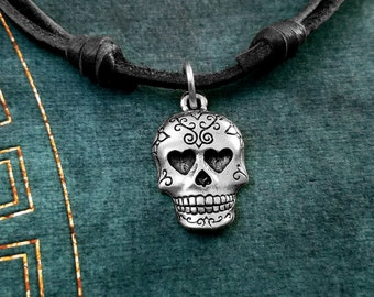 Sugar Skull Necklace SMALL Day of the Dead Necklace Sugar Skull Jewelry Leather Necklace Black Cord Necklace Mens Jewelry Boyfriend Necklace