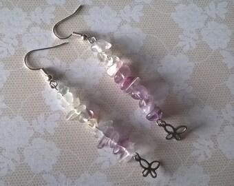 Natural Amethyst Fluorite Gemstone Earrings,Gemstone Earrings,Polished Crystal Earrings,Amethyst Jewelry,Butterfly Earrings,Fluorite Jewelry