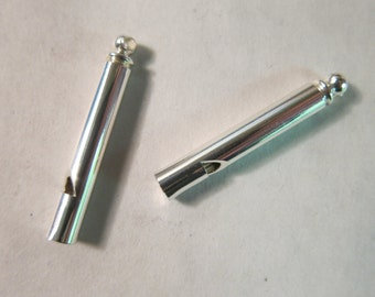 36x5mm Brass Whistle, Silver-Finished, use as a Pendant or a Fob - Available Individually & in Larger Pkgs!