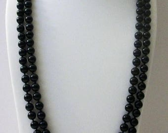 ON SALE Vintage Black Glass Beads 62 Inch No Clasp Necklace 102216